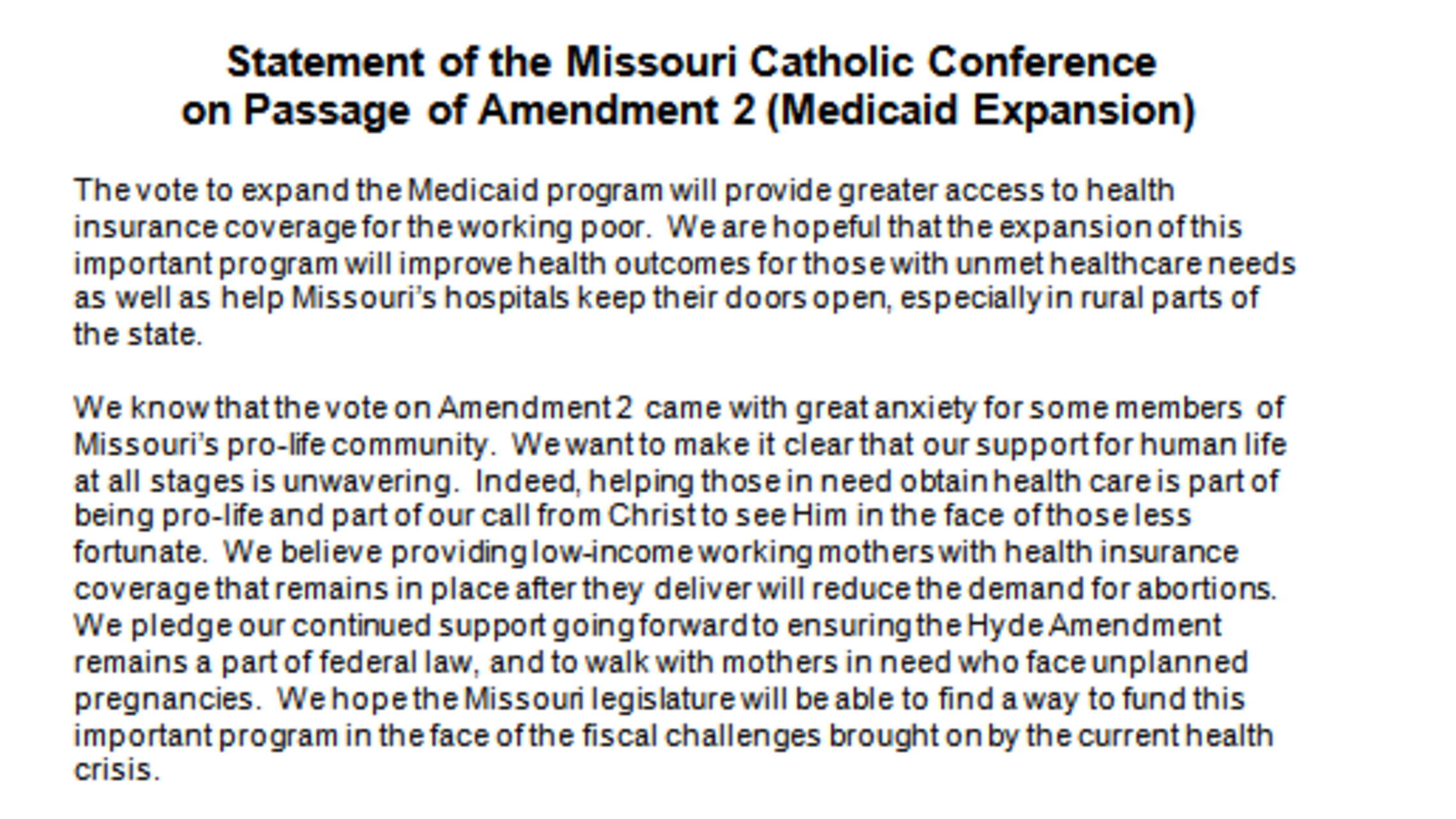 Bishops Statement On Passage Of Amendment 2 Medicaid Expansion